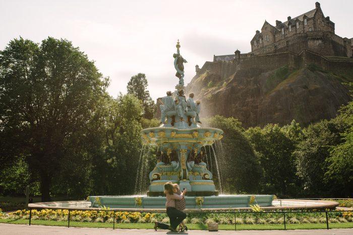 Engagement Proposal Ideas in Princes Street Gardens, Edinburgh, Scotland