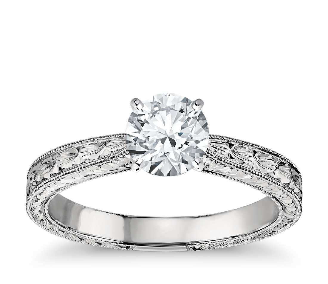 hand-engraved solitaire engagement ring by blue nile