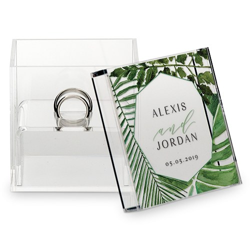 botanical wedding ring box with greenery