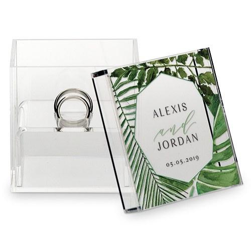 botanical wedding ring box with greenery