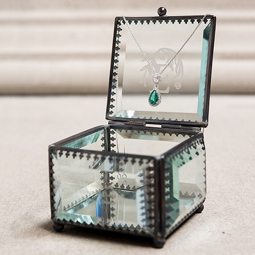 fairy tale etched vintage glass ring box