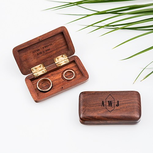 Custom wooden engagement and wedding ring box, engraveable