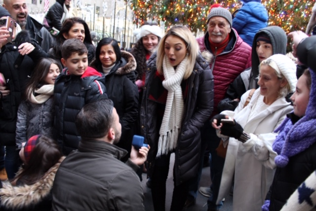 Alexis and Christian's Engagement in Rockefeller Center Tree