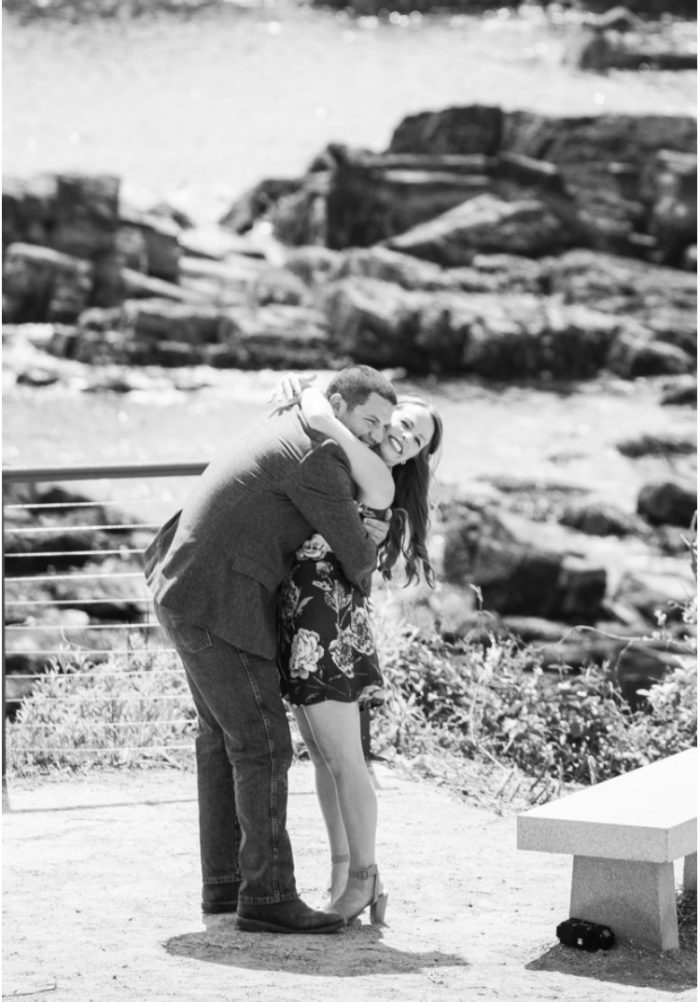 Megan and Nick's Engagement in Portland Headlight in Maine