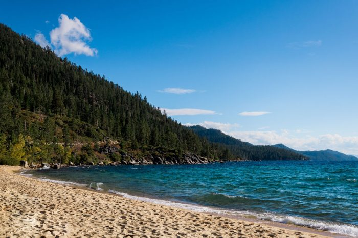 Emily and Blake's Engagement in Sand Harbor, Lake Tahoe