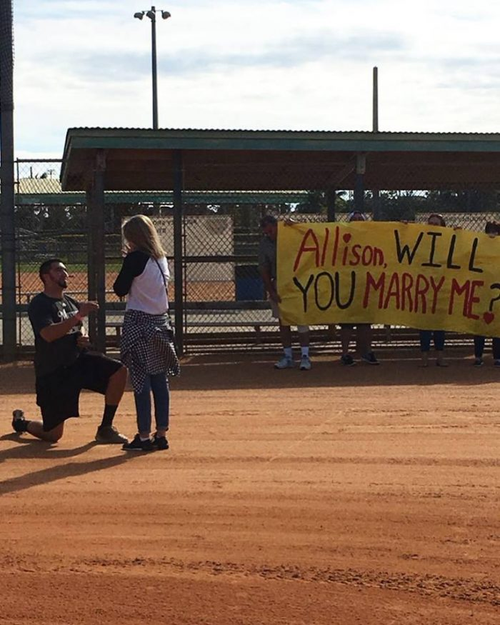 Engagement Proposal Ideas in Silver Lakes Baseball Field