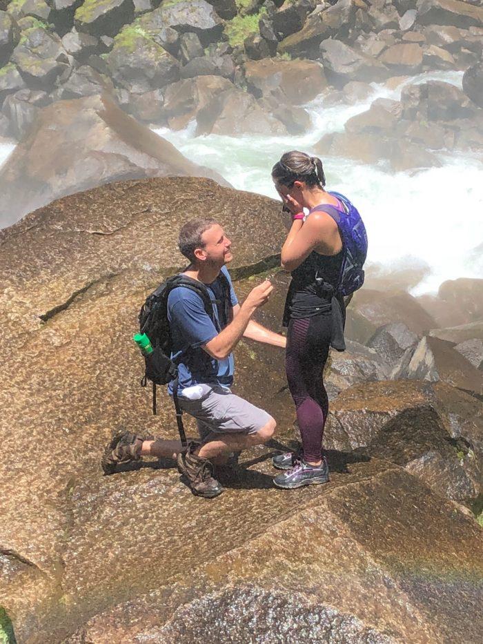 Christina's Proposal in The Mist Trail in Yosemite