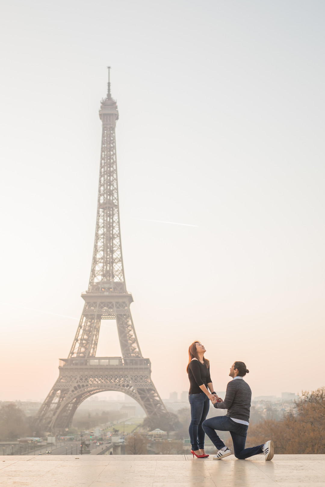 Surprise Double Proposal in Paris's on The Knot's