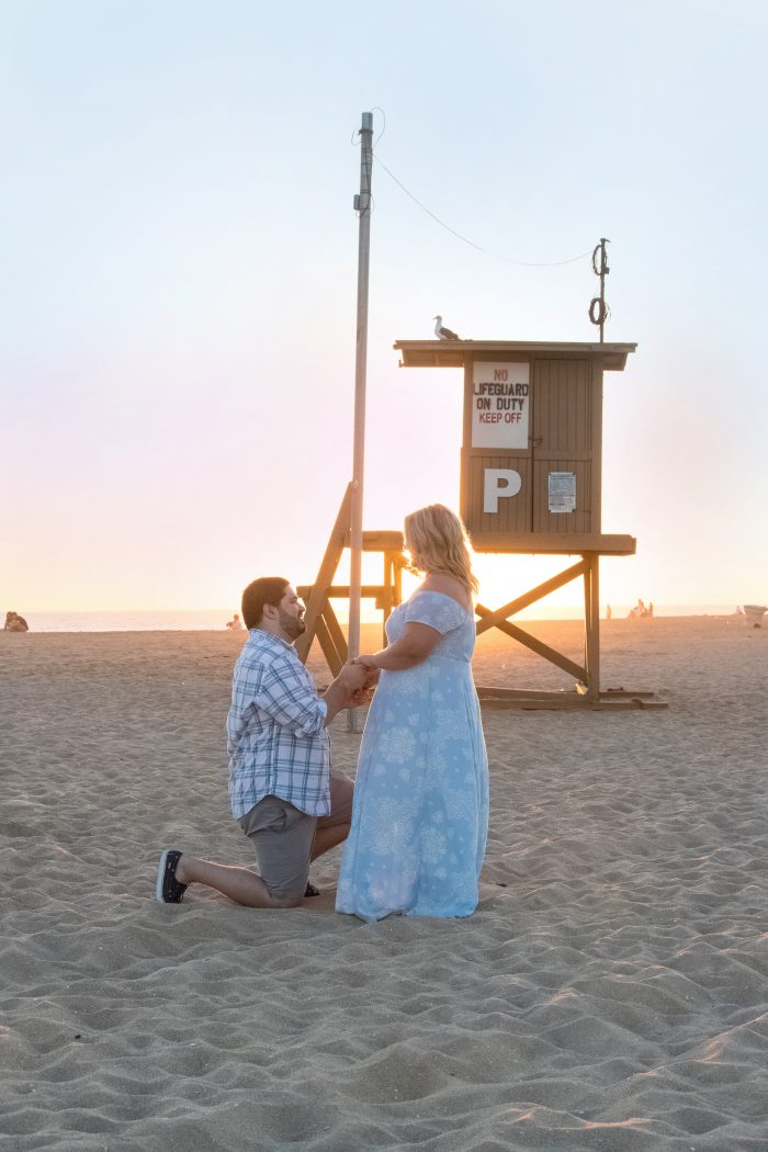 Karyn's Proposal in He proposed to me at our lifeguard tower at sunset in Newport Beach after setting up an all day photo shoot at three other locations.