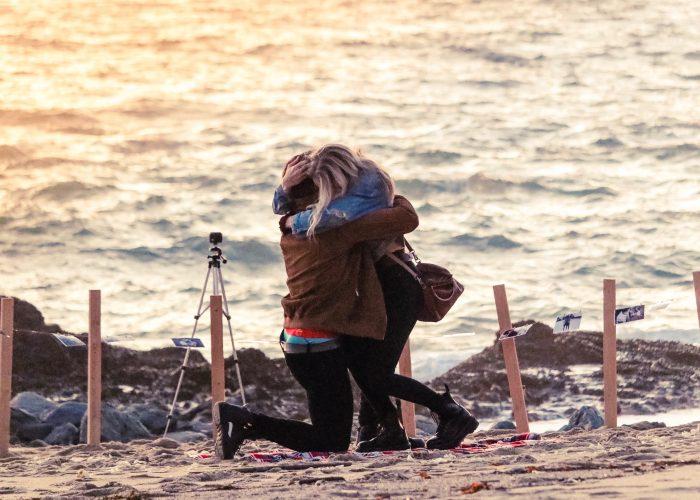 Adalyne and Mitchel's Engagement in tablerock beach, laguna CA
