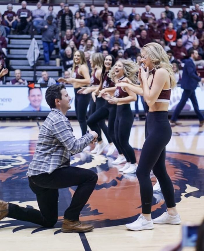 Baylie and Blake's Engagement in Dahlberg Arena at the University of Montana in Missoula, MT
