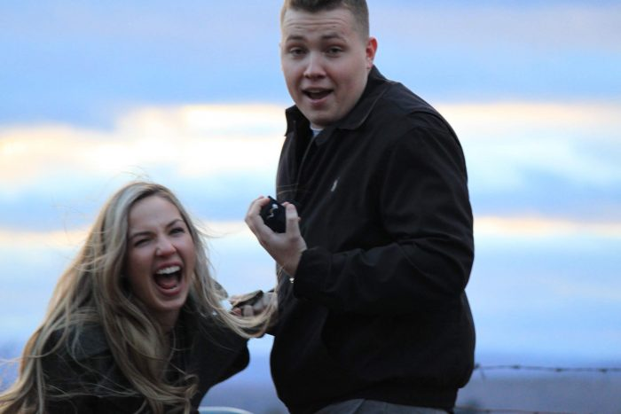 Engagement Proposal Ideas in Groton, MA on a hill with a castle perched atop. Perfect for watching sunsets.