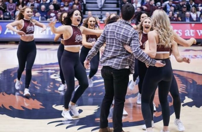 Wedding Proposal Ideas in Dahlberg Arena at the University of Montana in Missoula, MT