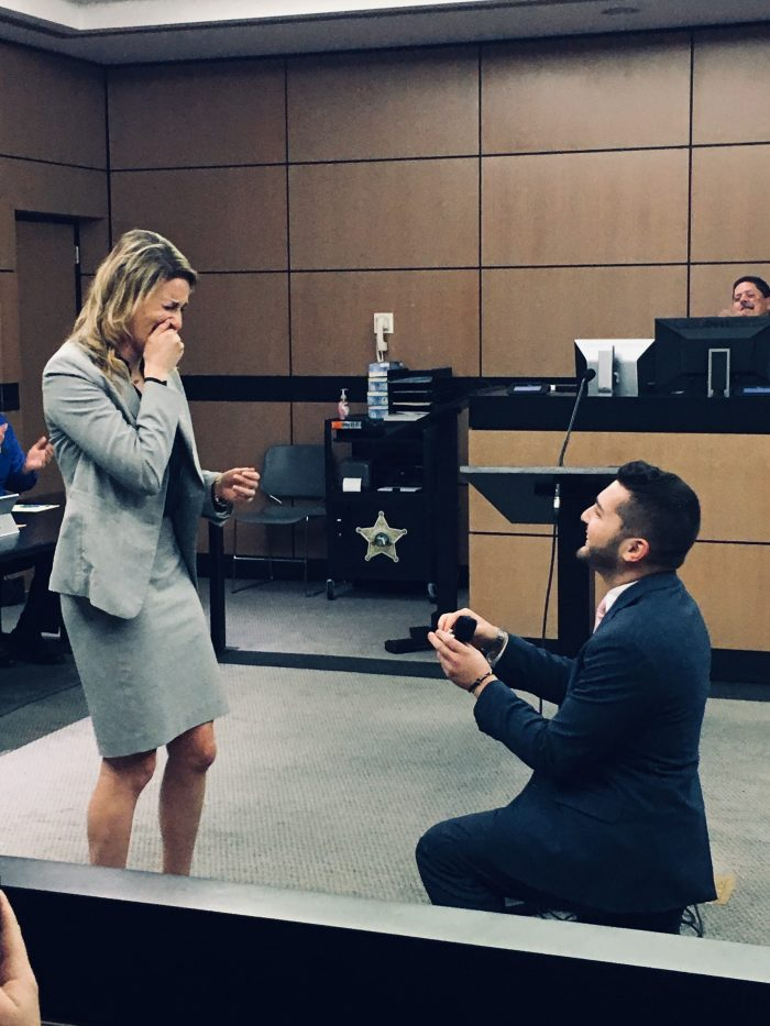 Marriage Proposal Ideas in During a fake trial at the courthouse