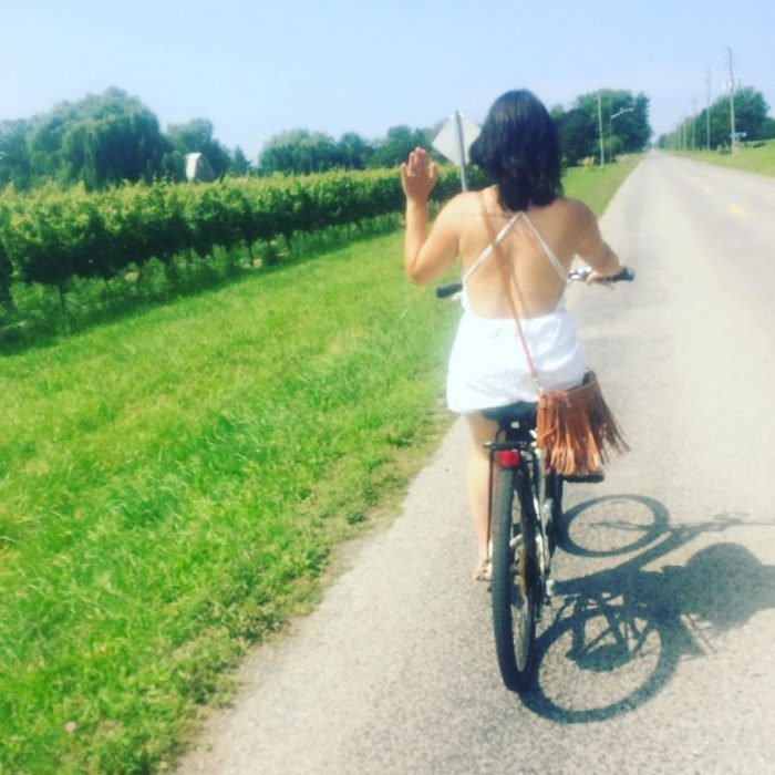Chelsea's Proposal in In Niagara-on-the lake in Ontario on a bike wine tour.