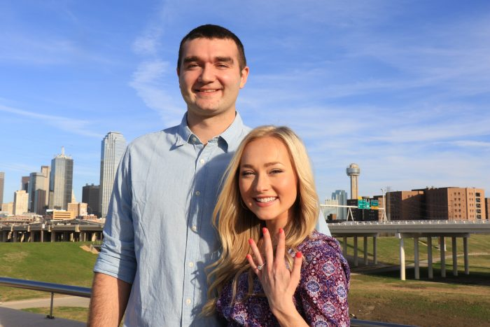 Kaylee and Blake's Engagement in Trinity Groves Bridge Dallas, TX