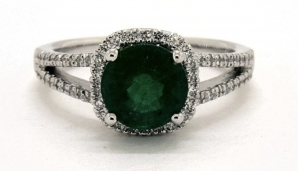 round cut halo emerald engagement ring