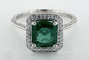 cushion cut emerald engagement ring