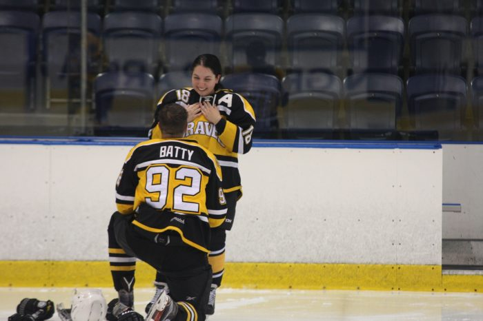 Wedding Proposal Ideas in At our Ice Hockey game in Melbourne, Australia