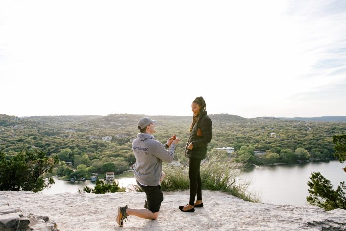 Tifonie and Ryan's Engagement in Mount Bonnell Austin TX