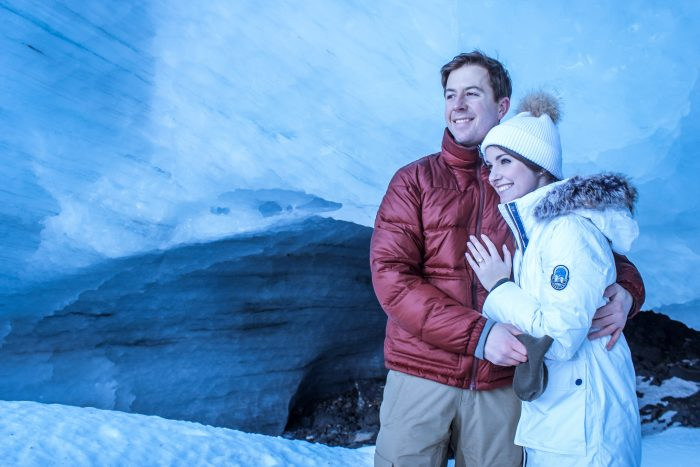 Moriah and Cody's Engagement in Byron Glacier, Alaska