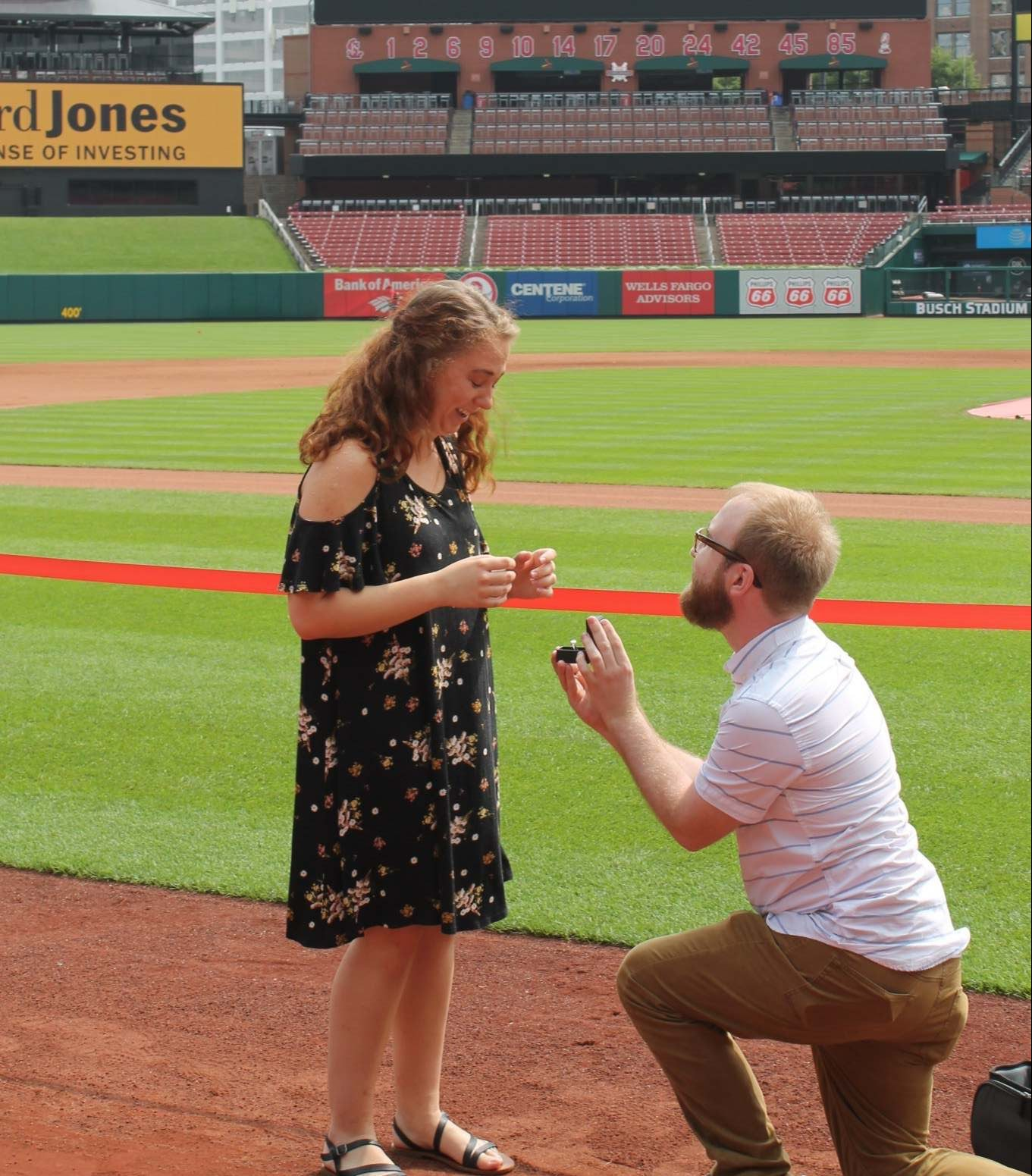Marriage Proposal Ideas in Busch Stadium, on the field to the left of home plate.