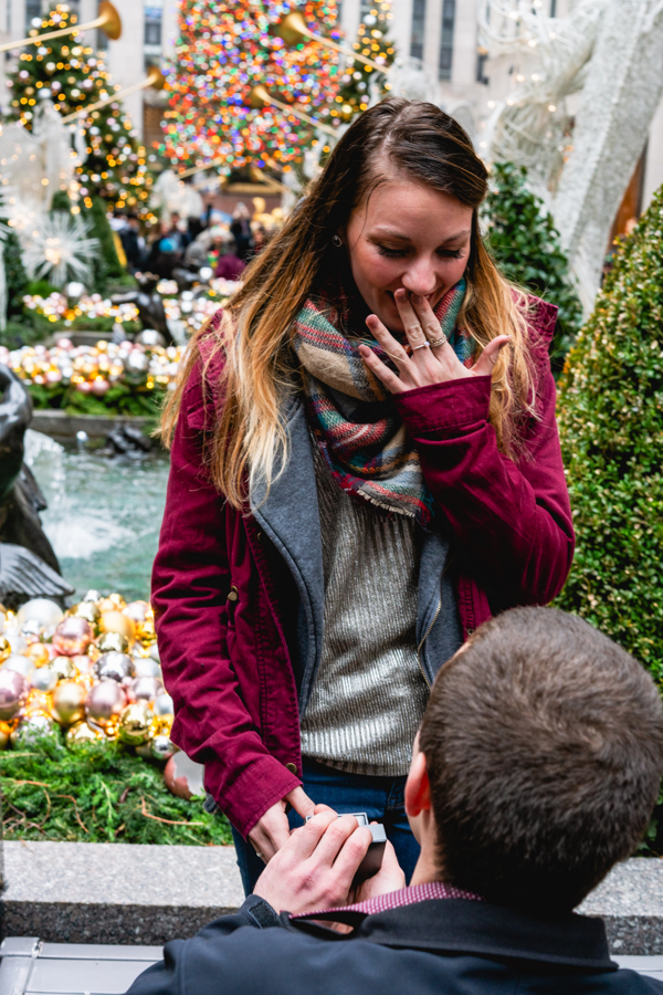 Engagement Proposal Ideas in New York City- Rockefeller Christmas Tree