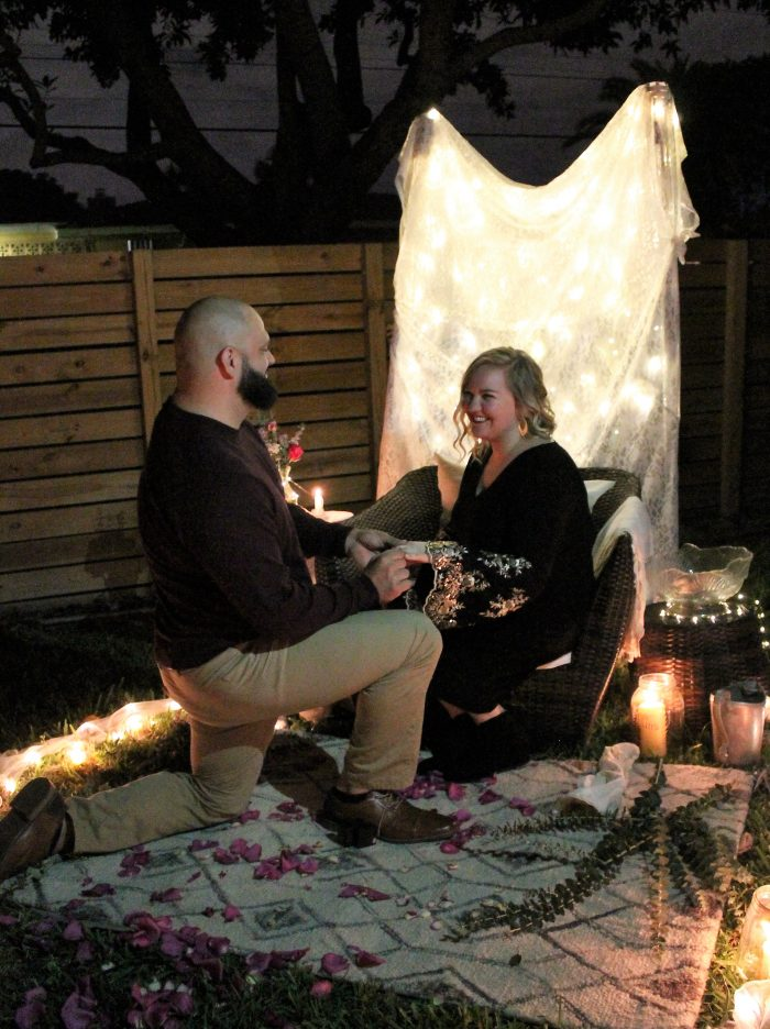 Wedding Proposal Ideas in David's parents backyard in Hollywood Florida