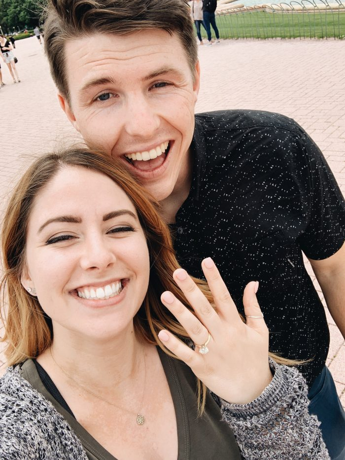 Laura and Collin's Engagement in Buckingham Fountain, Chicago, Illinois