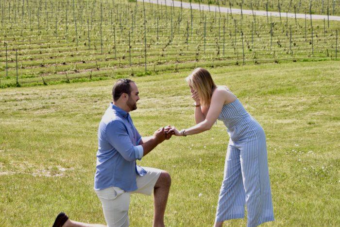 Amanda's Proposal in Proposed on Bry's Estate vineyard in Traverse City, MI