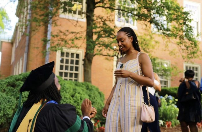 Engagement Proposal Ideas in The Quad at Wake Forest University