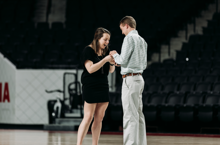 Engagement Proposal Ideas in Stegeman Coliseum at the University of Georgia
