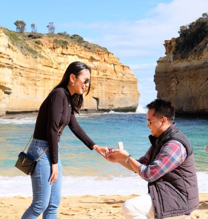 Wedding Proposal Ideas in Loch Ard Gorge, Melbourne Australia