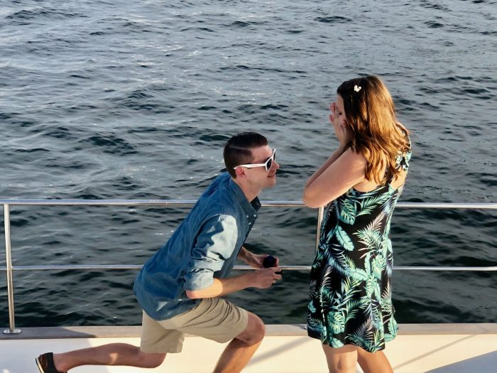 Nicole's Proposal in On a 46 foot Catamaran cruising the canal waters of Fort Lauderdale