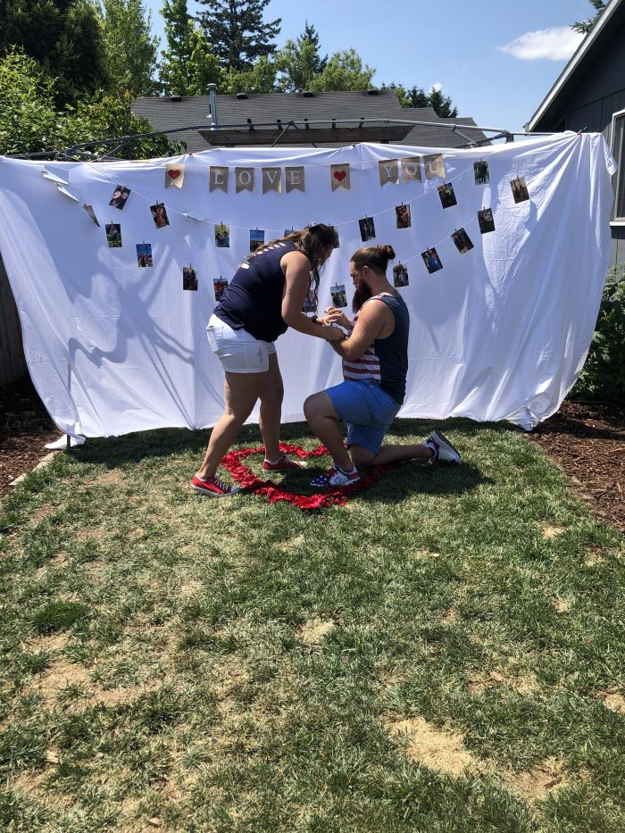 Wedding Proposal Ideas in Our house in the backyard