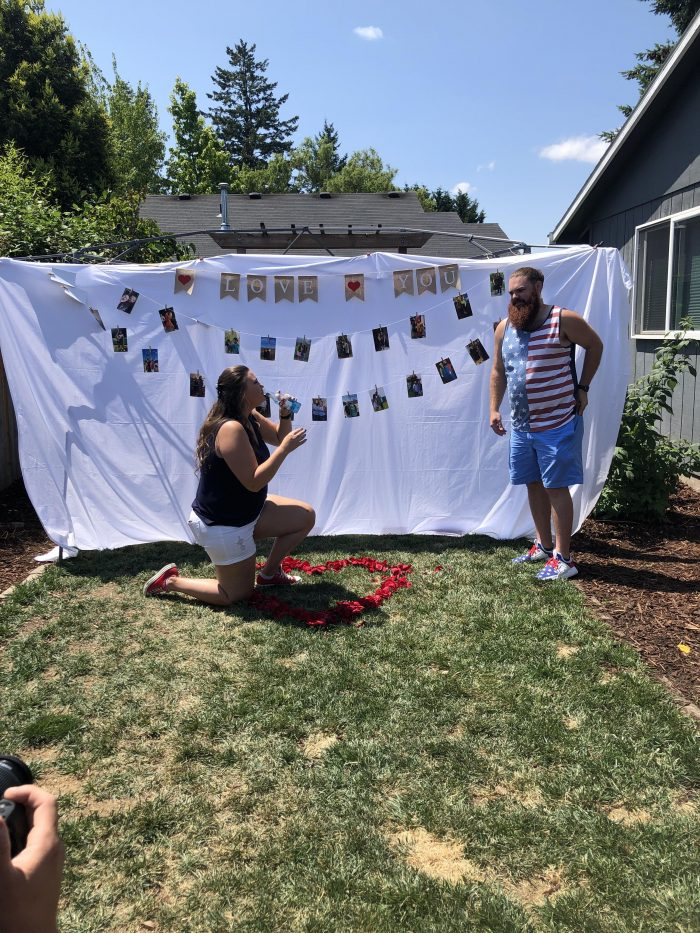 Shelby's Proposal in Our house in the backyard