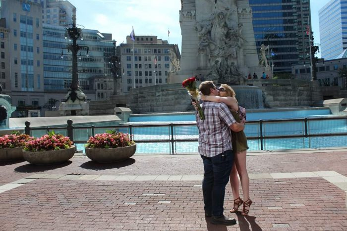 Engagement Proposal Ideas in Monument Circle in Indianapolis