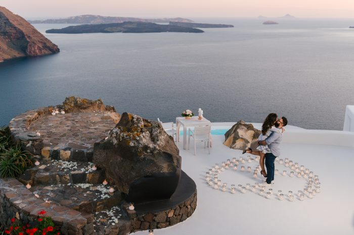 Anisha and Anand's Engagement in Aenaon Villas, Santorini, Greece