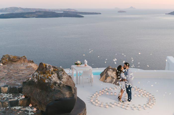 Engagement Proposal Ideas in Aenaon Villas, Santorini, Greece