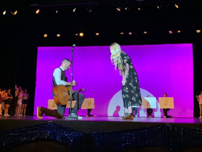 Wedding Proposal Ideas in On stage at my dance studios spring dance recital
