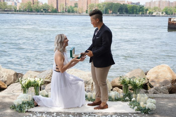Taylor's Proposal in Two proposals! Claudia's proposal was at Lavender by the Bay in Long Island and Taylor's proposal was at Domino Park in Brooklyn.