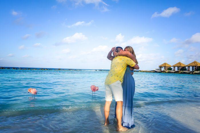 Jennifer and Dino's Engagement in Flamingo Beach, Renaissance Island, Aruba