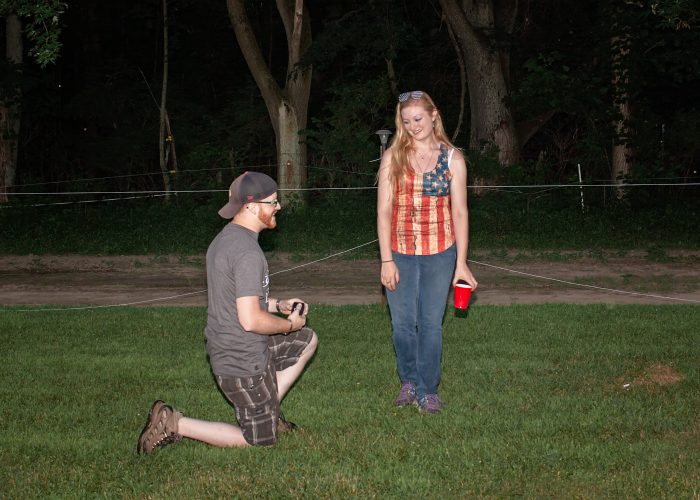 Alysha's Proposal in Brides family horse farm on a Fourth of July/graduation party
