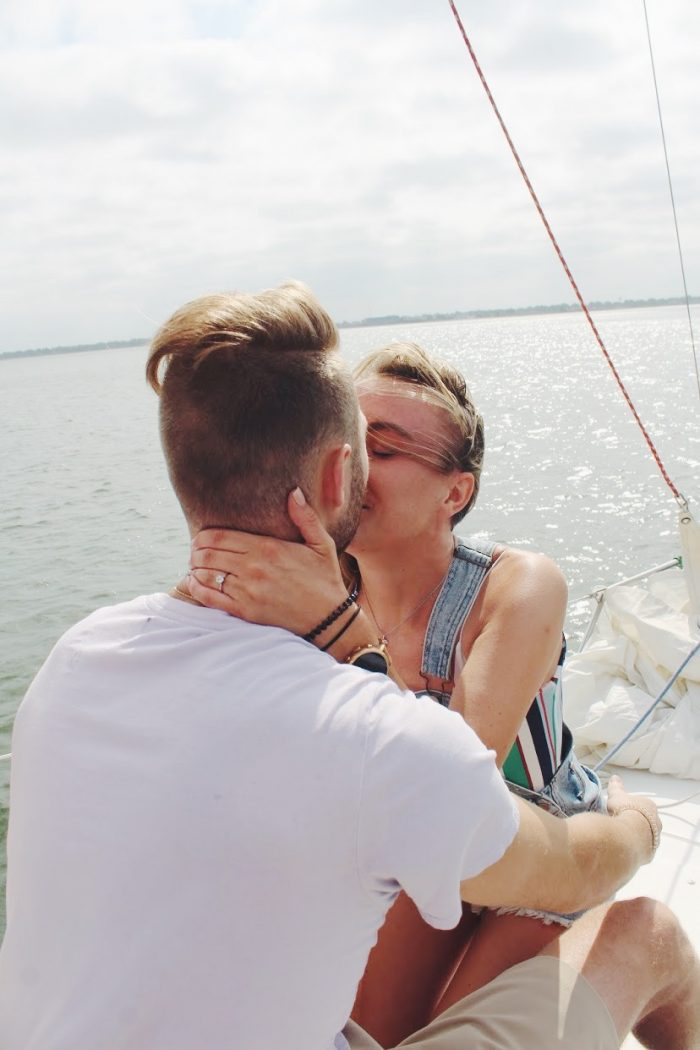 Hannah and Austin's Engagement in Lake Hefner on a Sail boat
