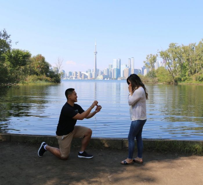 Esther and Jason's Engagement in Toronto Islands overlooking the city skyline