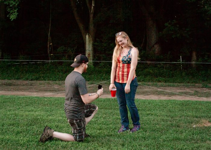 Engagement Proposal Ideas in Brides family horse farm on a Fourth of July/graduation party