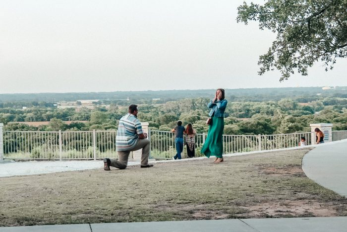 "Engagement Proposal Ideas in ""Lover's Leap"" at Cameron Park in Waco, TX"