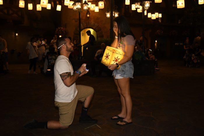 Wedding Proposal Ideas in Walt Disney World - Tangled Lanterns Photo Spot
