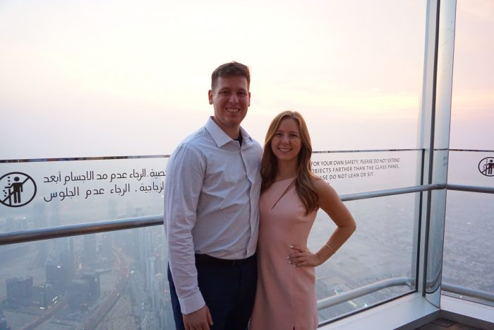 Emily's Proposal in At the top of the Burj Khalifa in Dubai (tallest building in the world!)