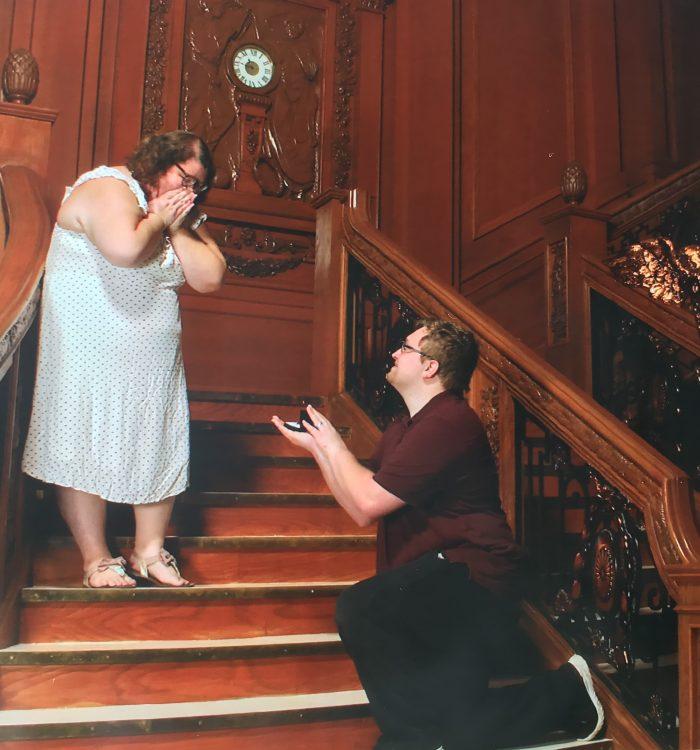 Megan and Dylan's Engagement in Titanic Artifact Museum, Orlando Fl